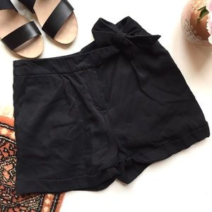 H&M Black Side Tie Cotton Shorts